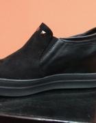 Sneakersy trampki koturn slip on czarne 40...