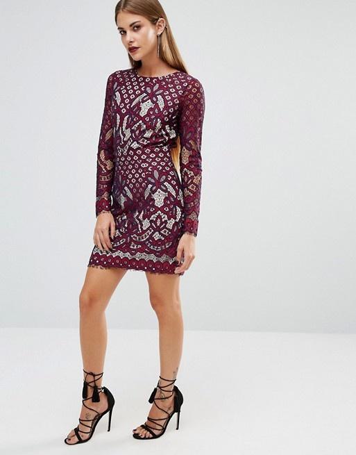Koronkowa sukienka BooHoo odkryte plecy długi rękaw Asos modna insta tumblr