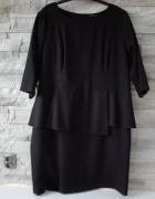 Czarna NOWA sukienka z baskiną rozmiar 56 28 8XL Biust 134cm