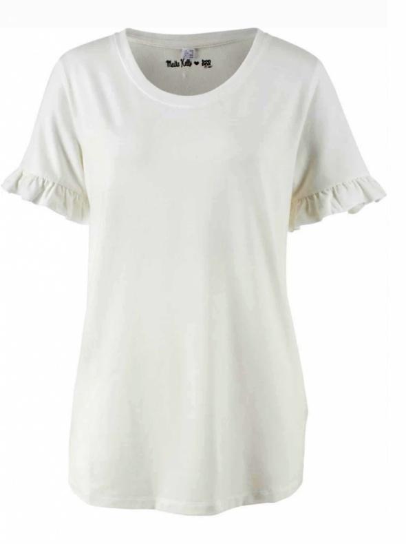 Bluzki Biała bluzka z ozdobnym rękawem shirt