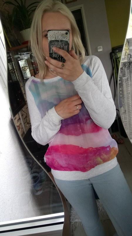 Bluzy Bluza z printem siateczka
