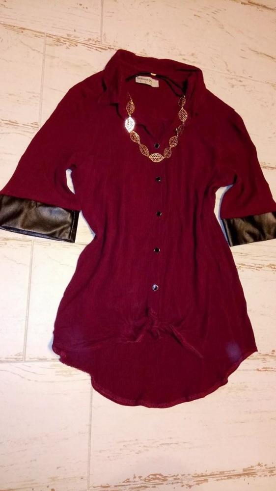 Koszule Bordowa plisowana koszula ze skórzanymi wstawkami