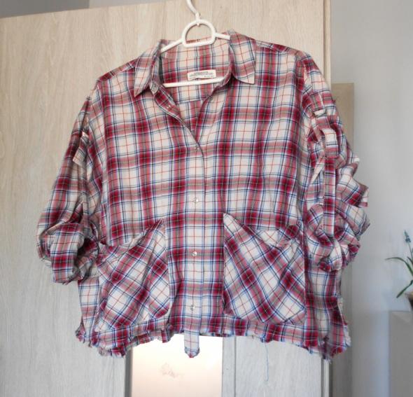 Koszule Zara koszula w kratę kraciasta kieszenie