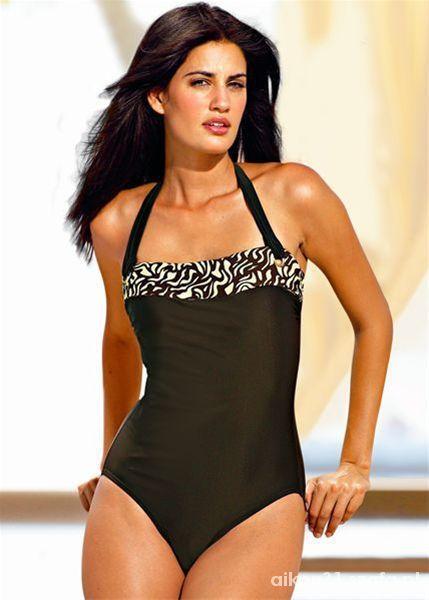 strój kąpielowy jednoczęściowy brązowy