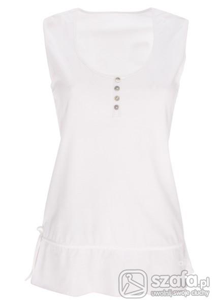 tunika długi top biały z wiązaniem