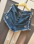 Jeansowe nowe spodenki wysoki stan M...