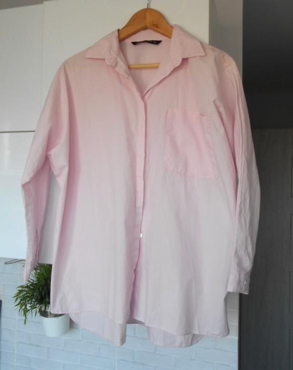 Koszule Zara różowa pudrowa koszula oversize pink z popeliny boyfriend