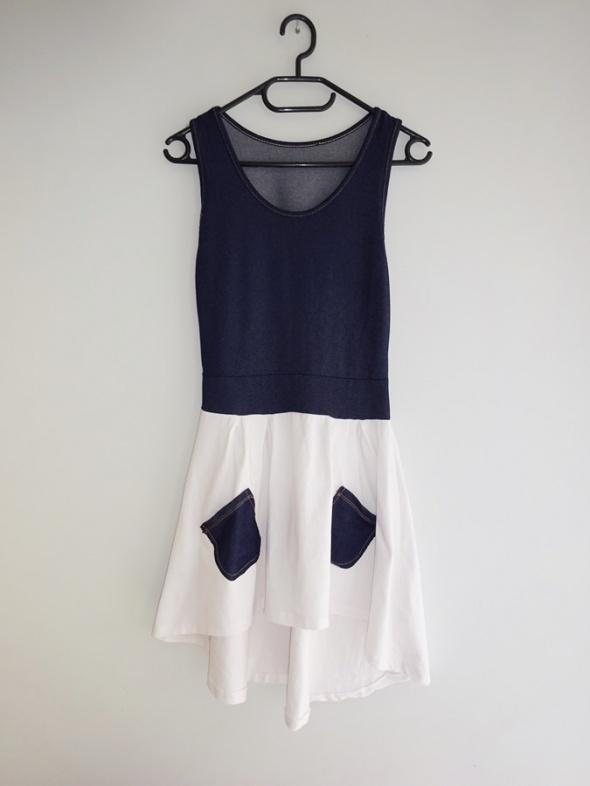 letnia zwiewna asymetryczna sukienka z kieszonkami 36 S