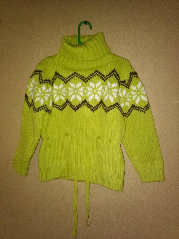 Zielony gruby sweter golf zimowy 128 cm