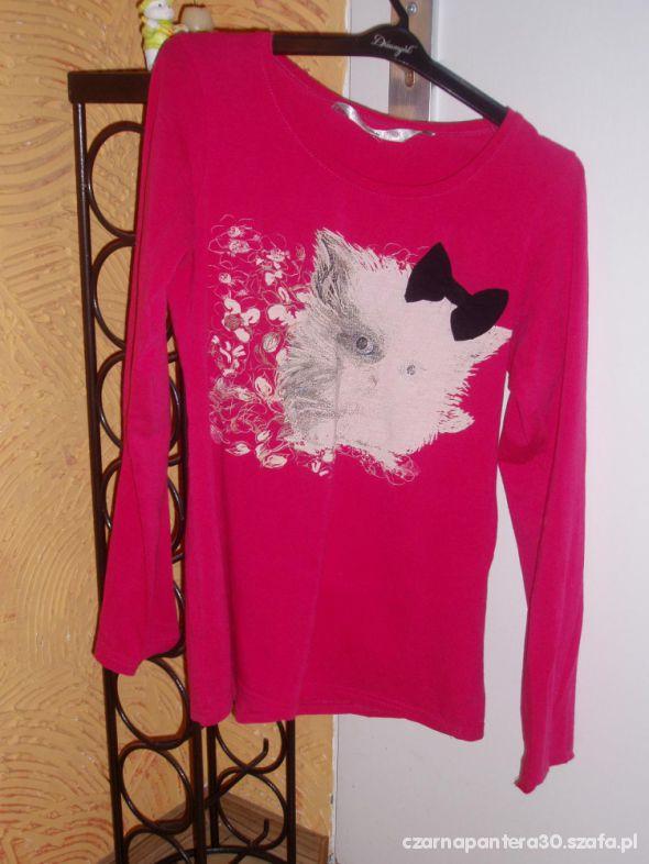 Różowa bluzeczka z kokardką i kicią XL