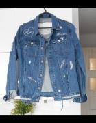Missguided nowa jeansowa kurtka katana jeans dziury ripped haft...