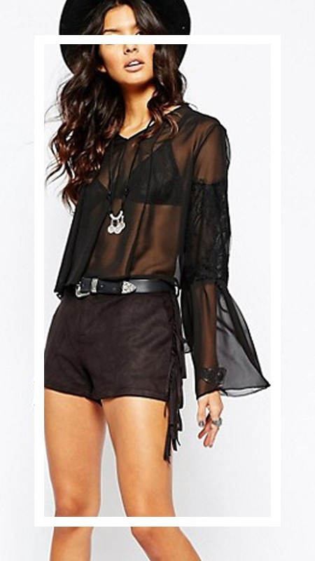 Bluzki Milk It koronkowa tiulowa czarna bluzka koszula na lato letnia koronka gotycka przezroczysta transparentna boho