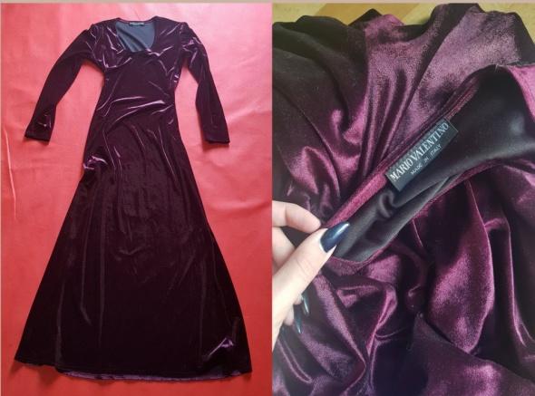 Włoska oryginalna suknia wieczorowa w kolorze burgundu maxi
