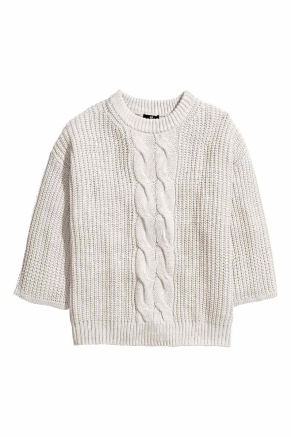 Szary sweter H&M 38 M oversize 40 L warkocz włóczka 42 XL gruby...