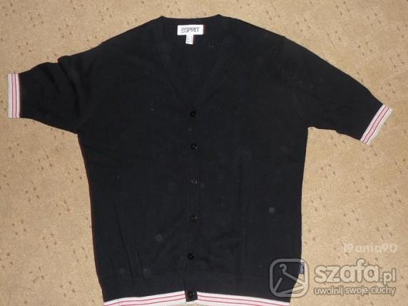 Bluzki czarna rozpinana bluzka z krótkim rękawem