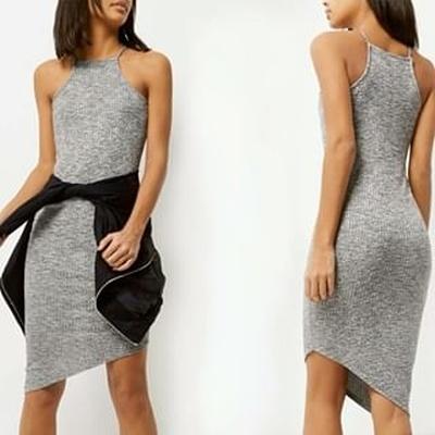 River Island szara prążkowana asymetryczna sukienka 40 42...