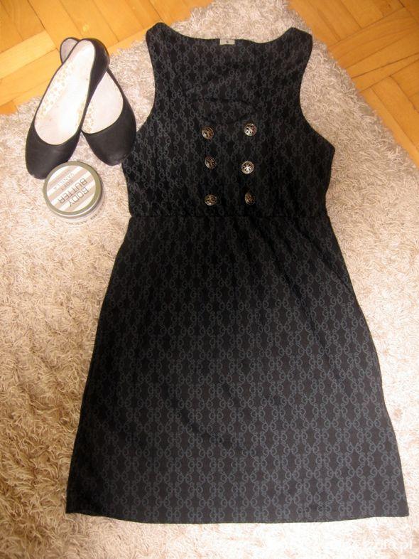 czarna sukienka elegancka marynarska guziki 36 S