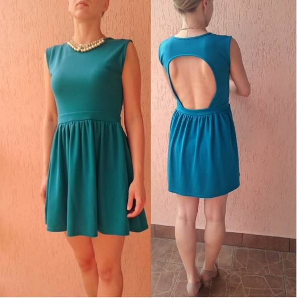 Szmaragdowa rozkloszowana sukienka opkryte plecy