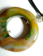 Duży wisior pierścień agatu pastelowy...