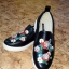 Buty czarne trampki haftowane slip on Vices wsuwane