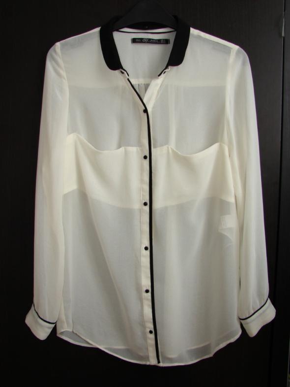 Biała ecru koszula mgiełka ZARA odpinany kołnierz