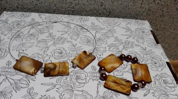 Biżuteria zestaw naszyjnik bransoletka musztardowy...
