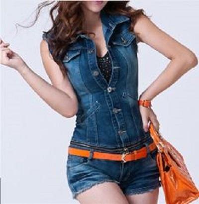 Jane Norman jeansowy jumpsuit kombinezon szorty L