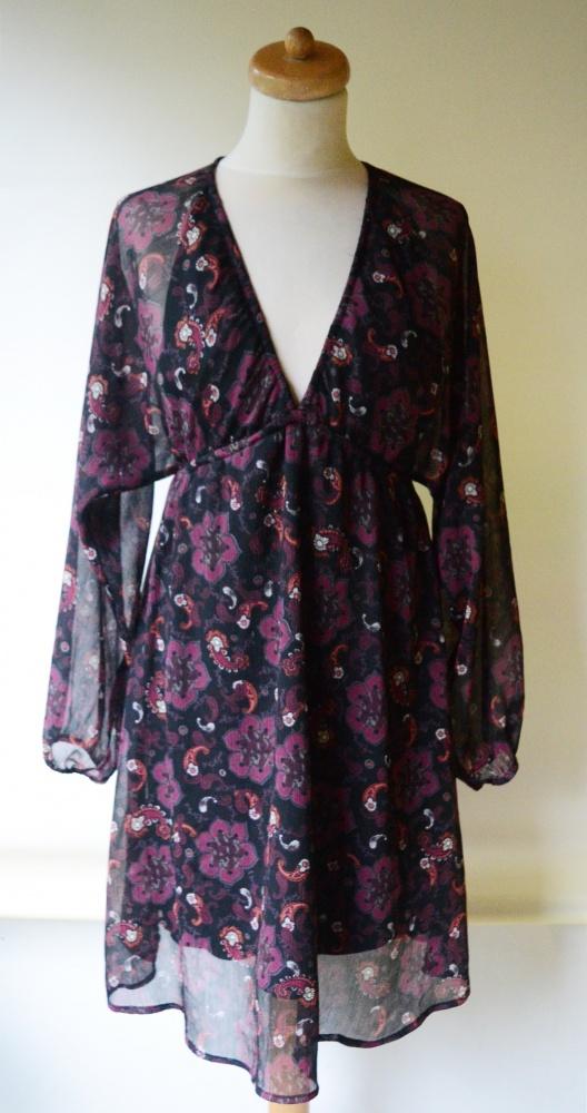 Sukienka Lindex S 36 Wzory Kwiaty Elegancka Wizytowa