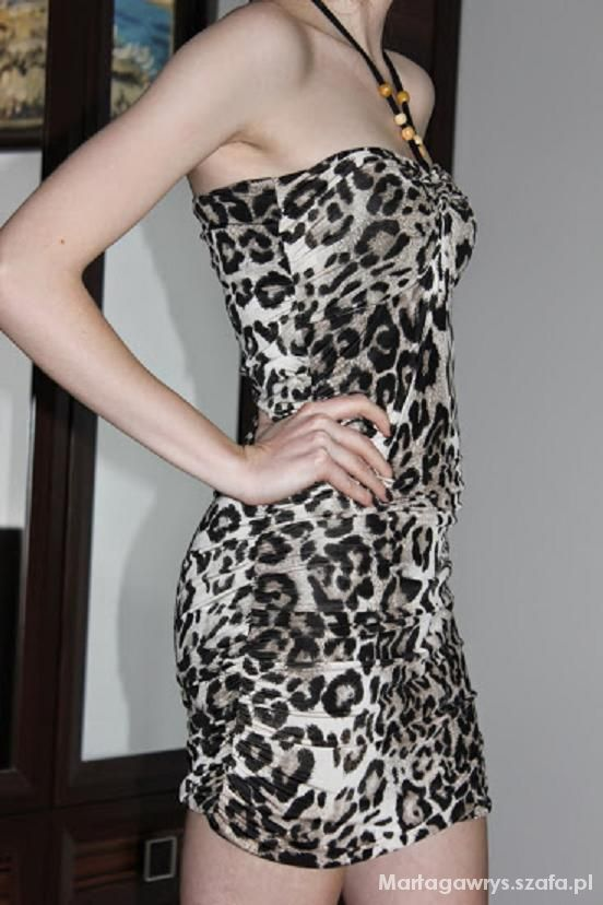sukienka tunika na lato panterka wiązana na szyję