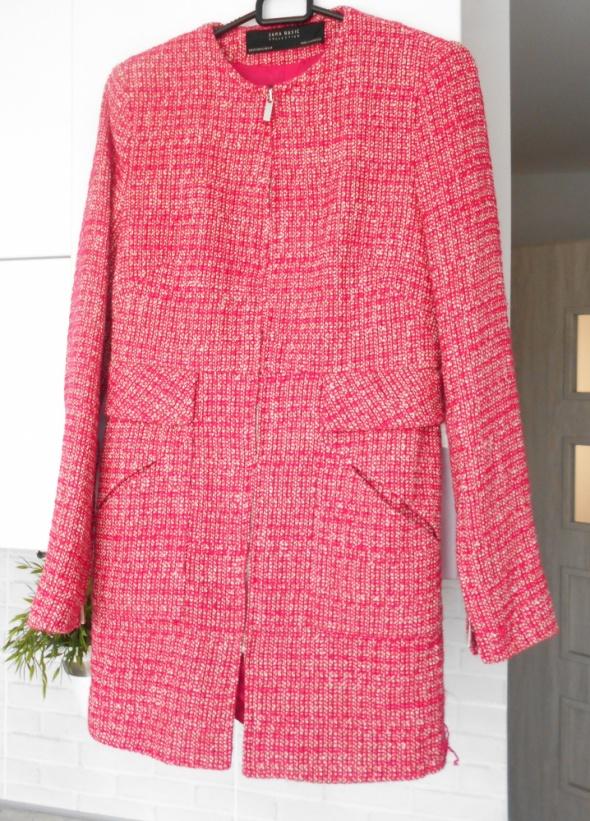 Zara nowy różowy płaszcz boucle pink zamek
