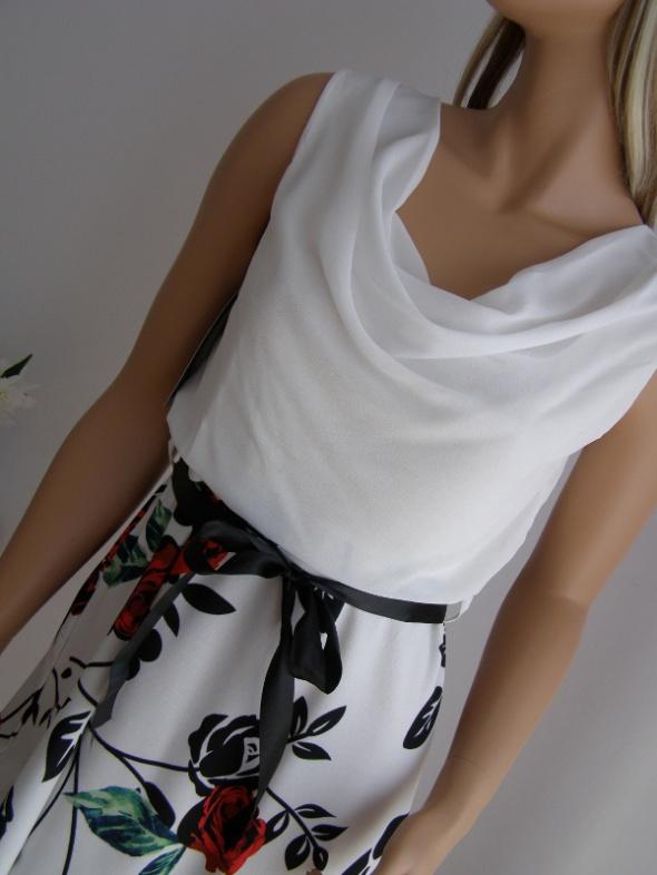 sukienka kwiaty falbanka S M biała nowa wesele róże