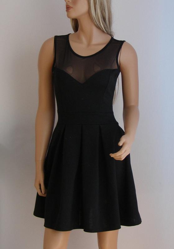 sukienka czarna siateczka serce 38 M rozkloszowana
