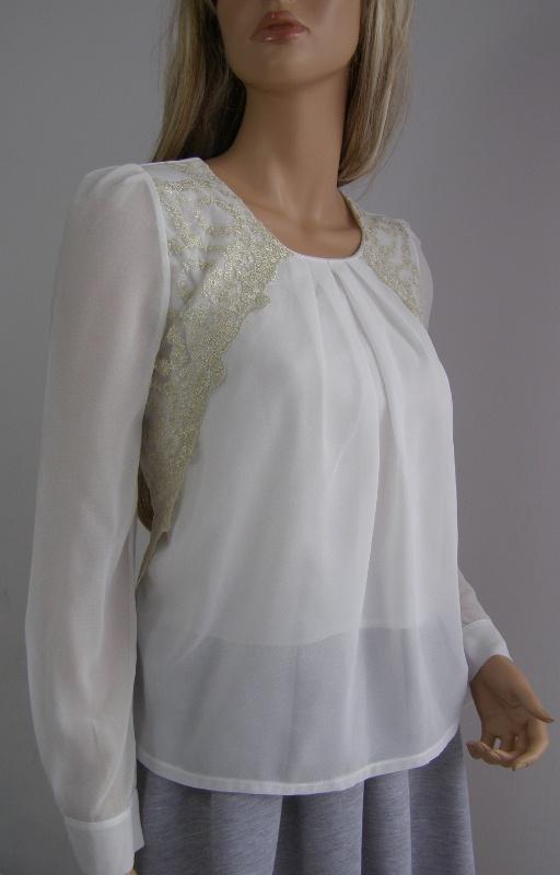 Bluzka ecru M koszula haft koronka święta złota