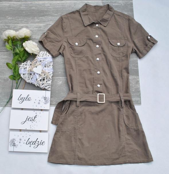 Sukienka Koszulowa Szmizjerka Wiązana Pasek Patki Safari Militarna Retro Ciemny Beż Beżowa M L