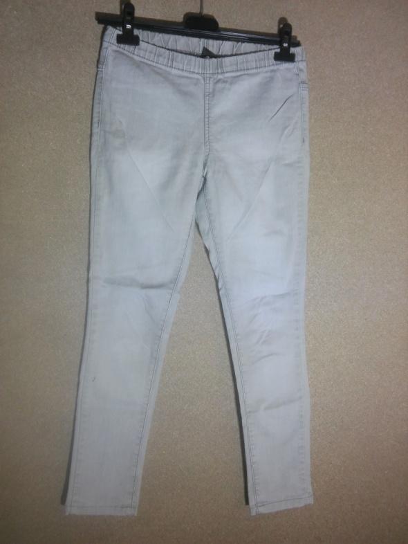 Spodnie Jasnszare tregginsy rurki wysoki stan 36