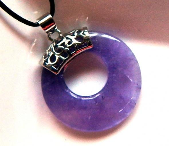 Ametyst fioletowy z dziurką donut wisiorek