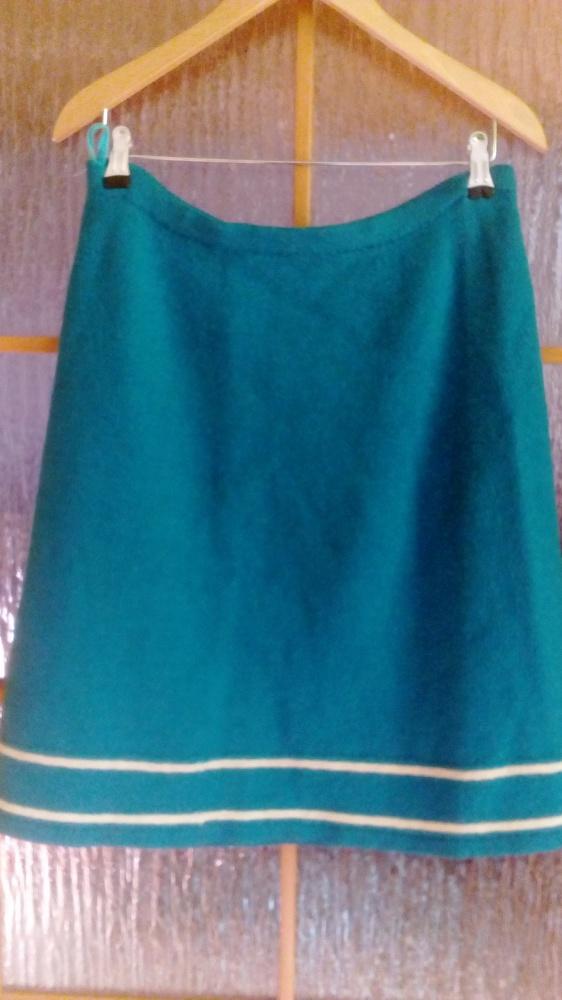Ciepła wełniana spódnica na zimę turkus 42 44