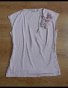 Bluzka pudrowy róż kwiaty Zara haft 38 M...