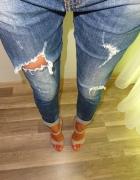 Original spodnie rurki boyfriend jeans z dziurami 38 M...