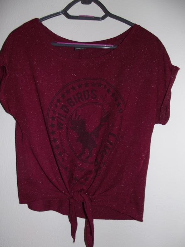 T-shirt blogerska bluzka wiązana bordowa
