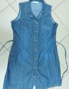 Jeansowa sukienka szmizjerka tunika F&F 40 L...