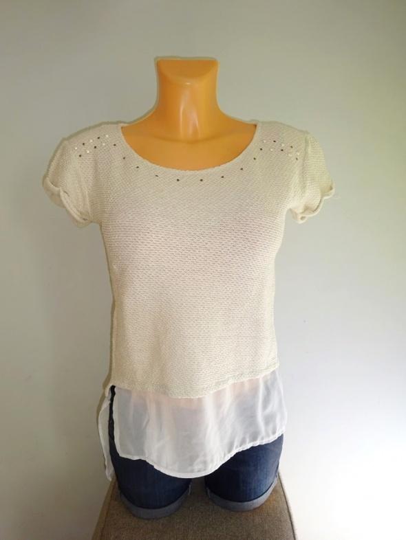 Pull Bear elegancka kremowa bluzka ze wstawkami 36 S