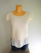 Pull Bear elegancka kremowa bluzka ze wstawkami 36 S...