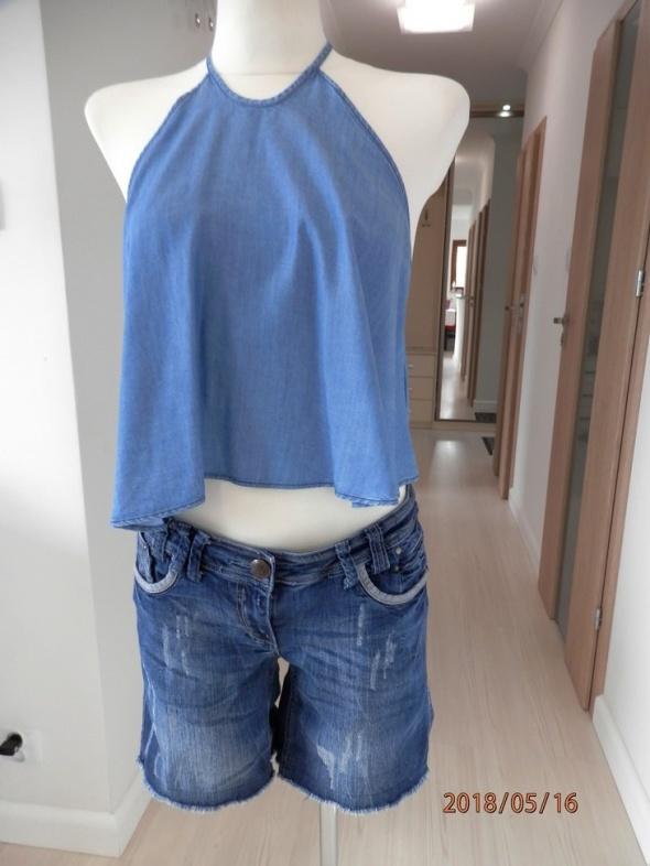 Bluzka Crop Top Zara Dżinsowy Do Spodni z Wysokim Stanem Nowy M
