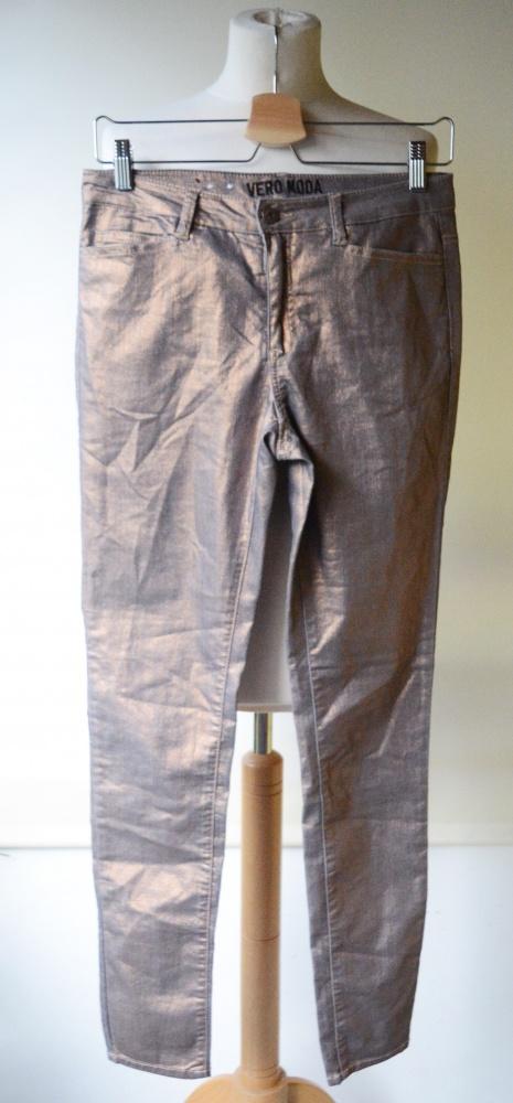 Spodnie Vero Moda Metaliczne Złote Woskowane 28 32 M 38...
