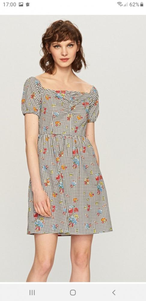 Sukienka w kwiaty i kratkę hiszpanka...