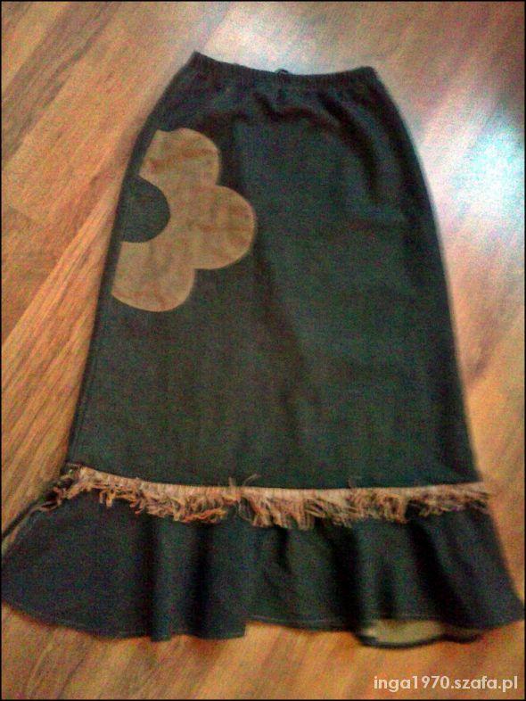 Spódnice Spódnica maxi z zamszowym kwiatem i frędzlami S M
