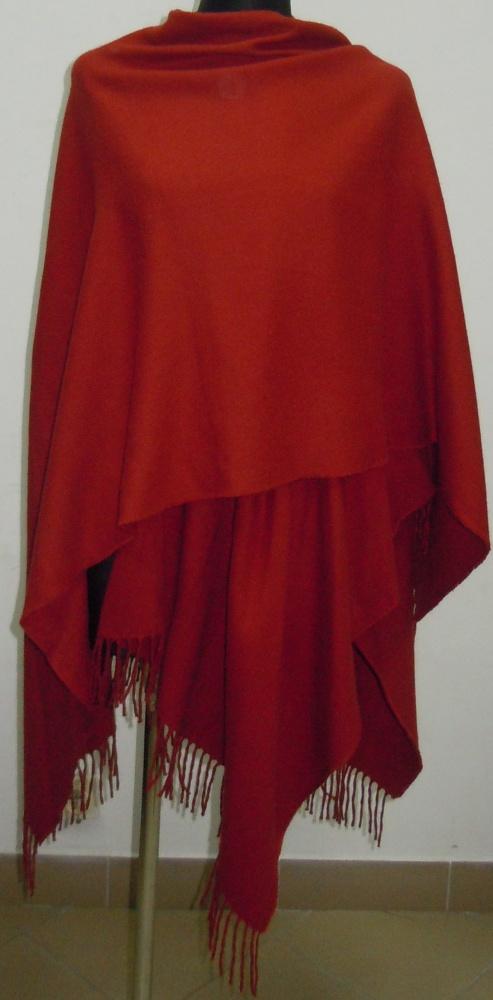 Ponczo narzutka czerwone czerwona 175 na 145 cm