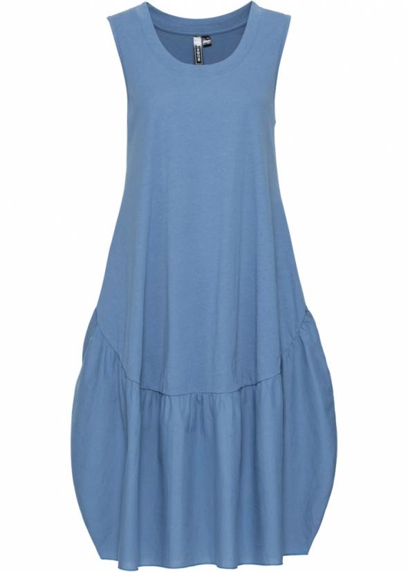 Luźna bawełniana niebieska sukienka oversize