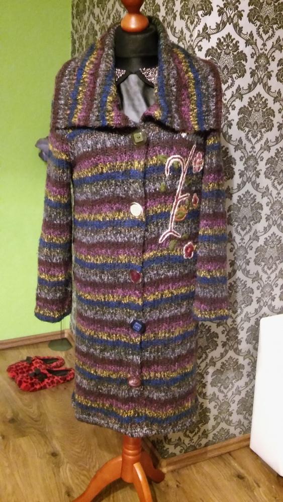 Kolorowy długi sweter 36